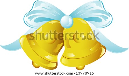 stock vector Illustration of gold wedding bells icon with ribbon