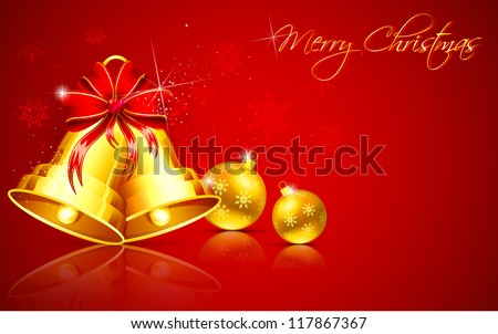 illustration of golden Christmas bauble and bell on abstract background