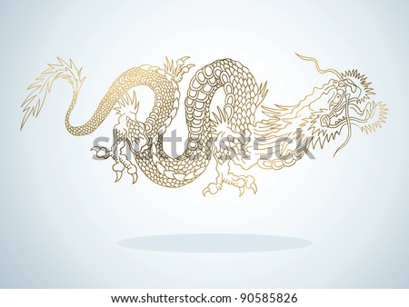 illustration of golden dragon