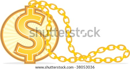 Illustration of Golden Necklace with dollar sign