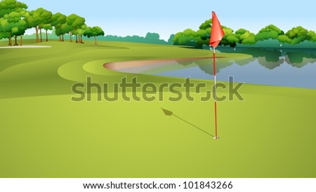Illustration of golf hole from green