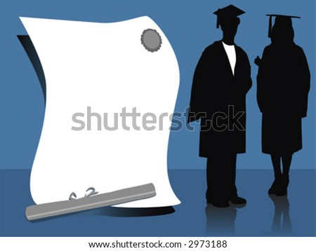 illustration of  graduates, silhouettes