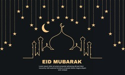 Illustration of graphic Eid mubarak greeting  background with the mosque