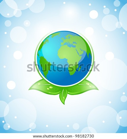 Illustration of green earth with leaves - vector