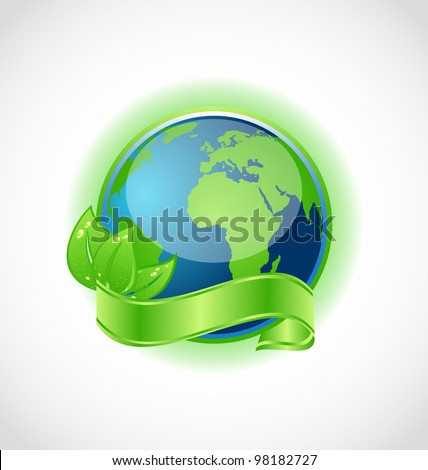 Illustration of green earth with leaves wrapped ribbon isolated - vector