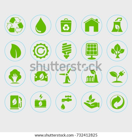 illustration of green environmental friendly icons