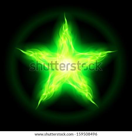 illustration of green fire star