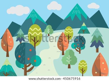 illustration of green forest