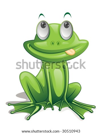 illustration of green frog on