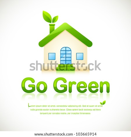 illustration of green home with leaf coming out of chimney