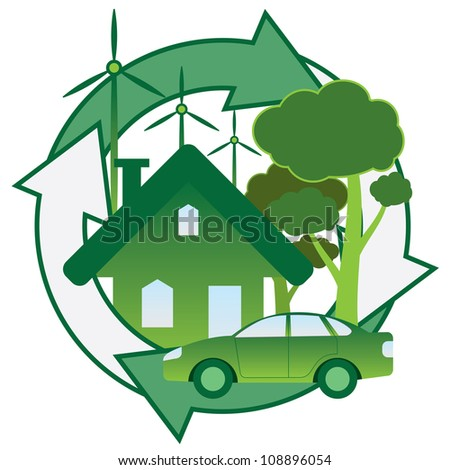Illustration of green house, car, trees and windmill.