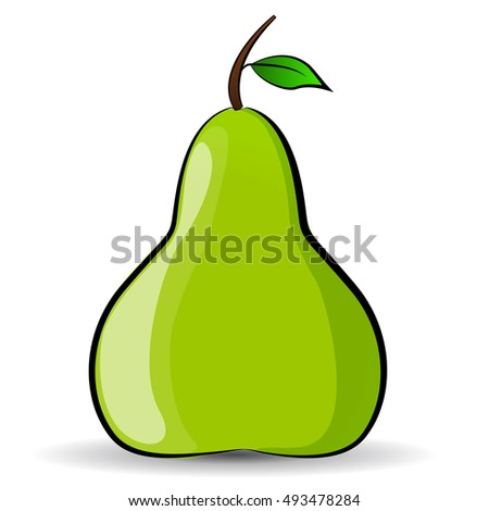 illustration of green pear on