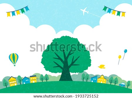 illustration of green tree and