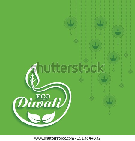 Illustration of Greeting for Eco or Green Diwali Celebration stock vector