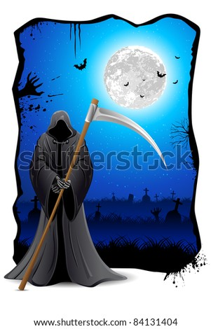 illustration of grim holding sword in scary night