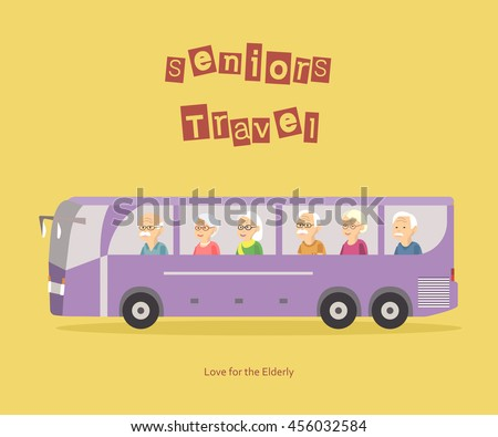 Illustration of group happy seniors people travel by bus. Concept of active elderly during retirement. Old woman man traveling banner. Vector illustration flat design.