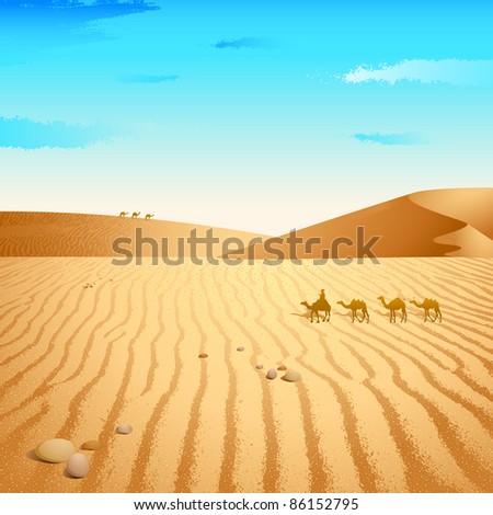 illustration of group of camel