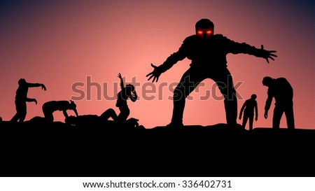 illustration of group of zombie
