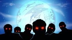 illustration of group of zombies with red eyes