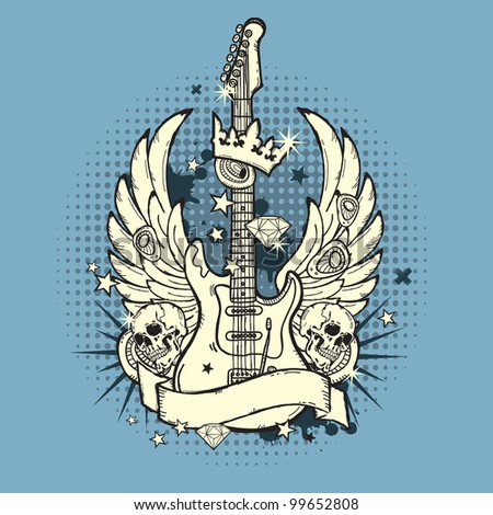 illustration of grunge guitar