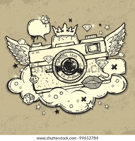 Illustration of grunge photo camera
