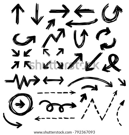 Illustration of Grunge Sketch Handmade Marker Doodle Vector Arrow Set