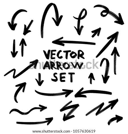Illustration of Grunge Sketch Handmade Watercolor Doodle Vector Arrow Set #1057630619