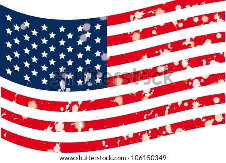 Illustration of grunge usa flag, vector illustration