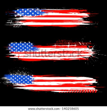 illustration of Grungy American Flag Banner for Independence Day