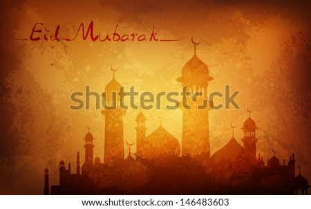 illustration of Grungy Eid Mubarak Background with mosque