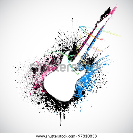 illustration of guitar shape with colorful grungy splash