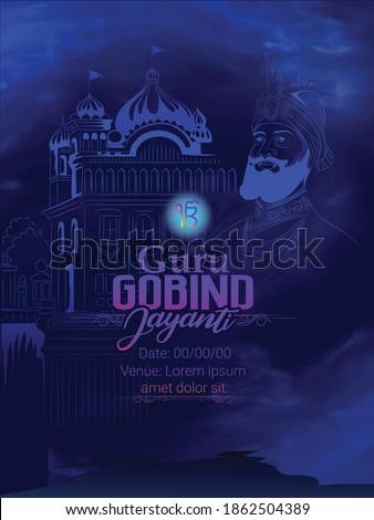 illustration of Guru Gobind Singh Jayanti  Sikh festival