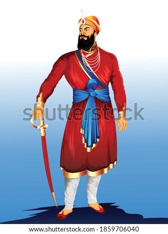 illustration of Guru Gobind Singh Jayanti Sikh, festival celebration in Punjab