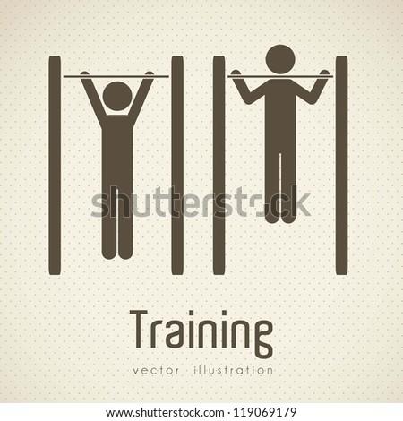 Illustration of gym icons, dot background, vector illustration