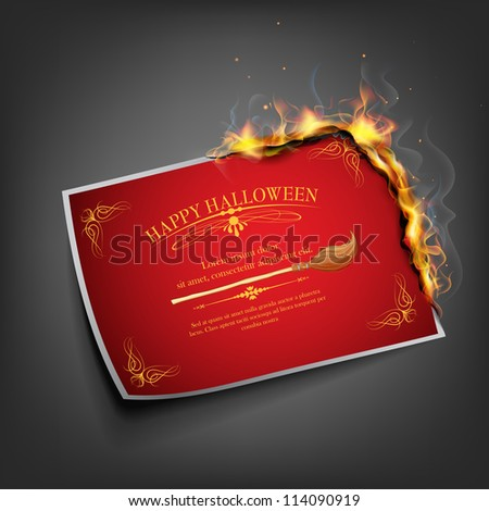 illustration of Halloween invitation card with fire