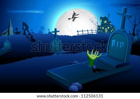 illustration of Halloween night in graveyard with mummy and flying witch