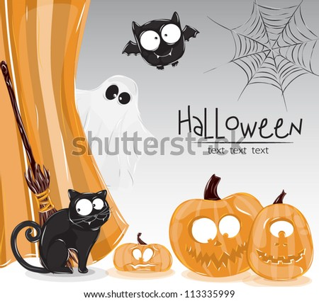 illustration of halloween pumpkin with a cat with a broom and a bat with a ghost