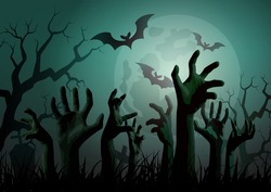 Illustration of Halloween Zombie Party.