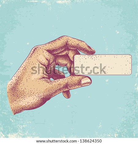 Illustration of hand holding a business card