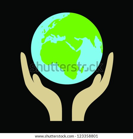 Illustration of hand holding a globe on black background.