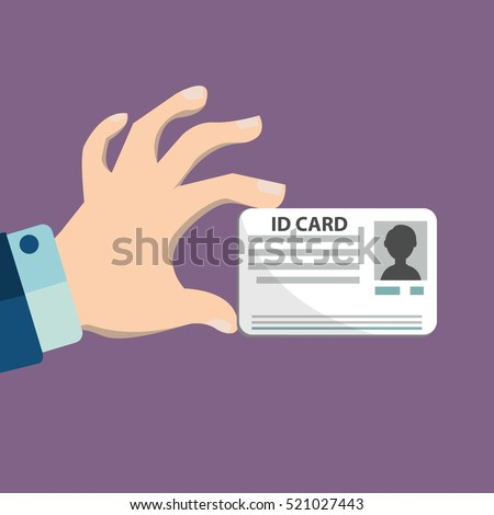 Illustration of hand holding the id card. Stock fotó ©