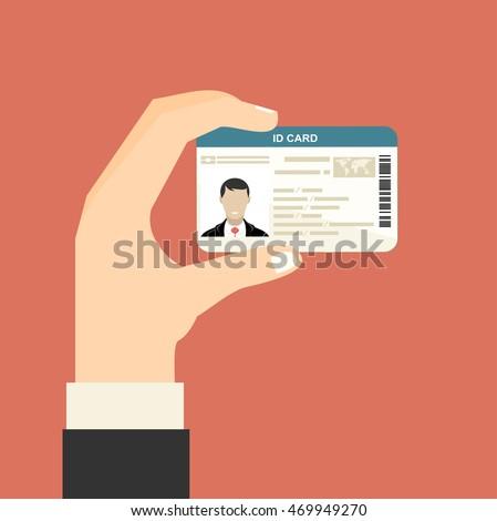 Illustration of hand holding the id card. Vector illustration flat design. Stock fotó ©