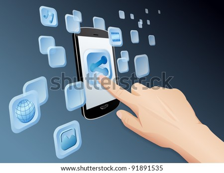 Illustration of hand pressing a share icon to share media to web with modern touch screen mobile phone. Vector EPS10 file layered, grouped and named for easy editing.