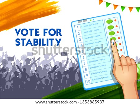 illustration of Hand pressing Electronic Voting Machine for General Election in India