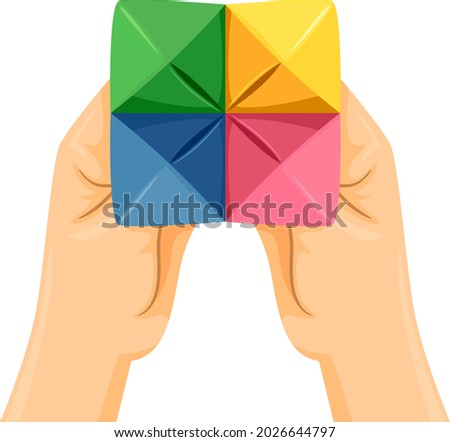 Illustration of Hands Holding a Paper Fortune Teller In Different Colors Stock foto ©