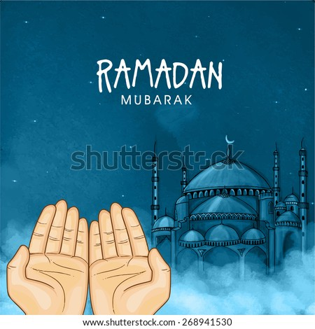Illustration of hands praying namaz (Muslim\'s Prayer) infront of mosque in blue night for Islamic holy month of prayers, Ramadan Mubarak celebration.