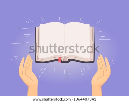 Illustration of Hands with an Open Blank Bible Shining