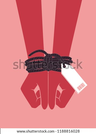 Illustration of Hands with Wrist Tied Together with a Label. Human Trafficking Concept