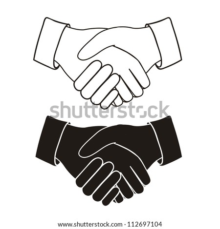 Illustration of handshake isolated on white background, vector illustration - stock vector