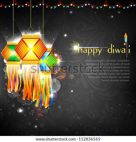 illustration of hanging kandil with firework in diwali night